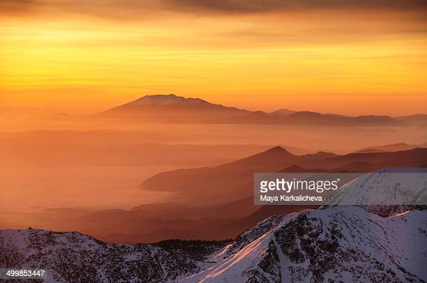 sunrise in mountains, winter scene - pirin mountains stock pictures, royalty-free photos & images