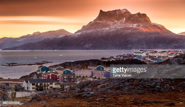 sunrise in nuuk, greenland - greenland stock pictures, royalty-free photos & images