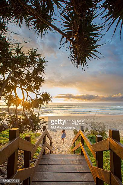sunrise in queensland - coastal feature stock pictures, royalty-free photos & images