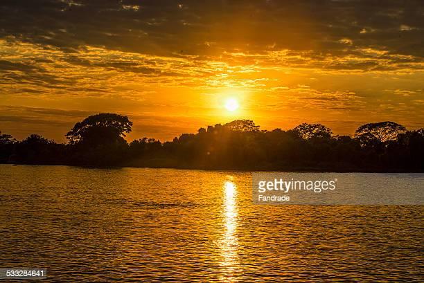 Sunrise in Rio Cuiaba Mato Grosso Brazil