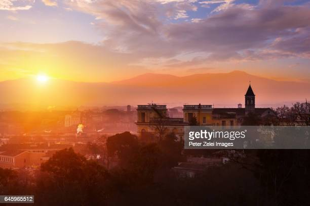 Sunrise in Rome, view from the Gianicolo Park