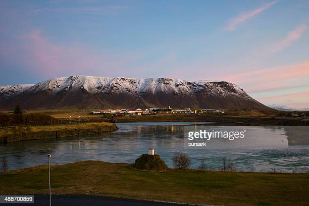 Sunrise in Selfoss, Iceland.