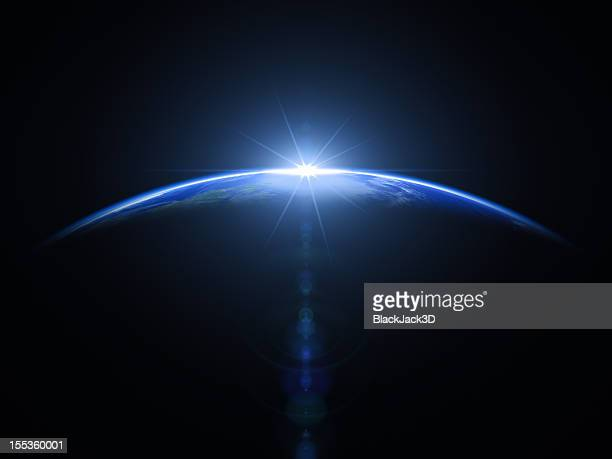 sunrise in space - horizon stock pictures, royalty-free photos & images