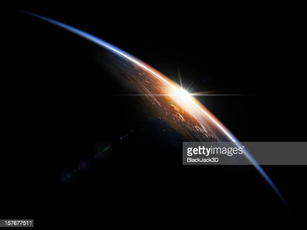 sunrise in space - zonsopgang stockfoto's en -beelden