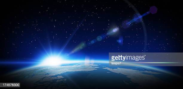 sunrise in space - horizon stockfoto's en -beelden
