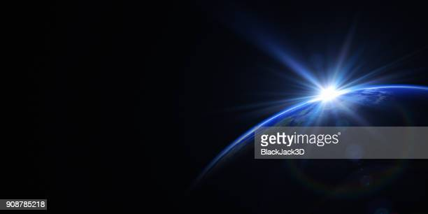 sunrise in space - lens flare stock pictures, royalty-free photos & images