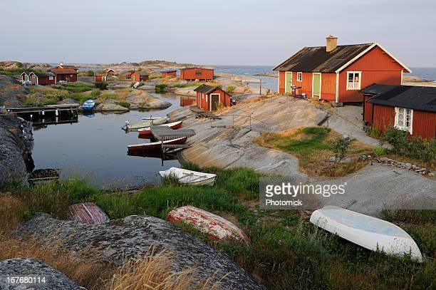 sonnenaufgang in der archipel - schweden stock-fotos und bilder