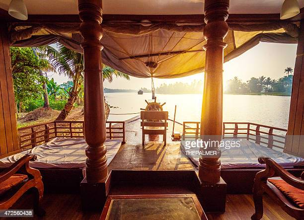 sunrise in the backwater sof kerala - houseboat stock pictures, royalty-free photos & images