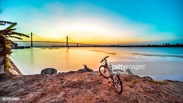 Sunrise in the Mekong river