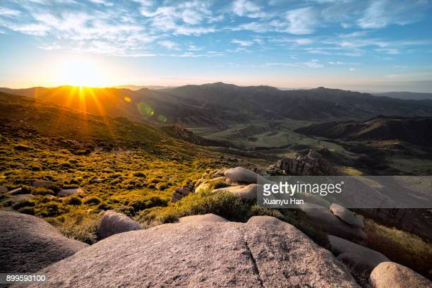 sunrise in the mountains - mountain range stock pictures, royalty-free photos & images