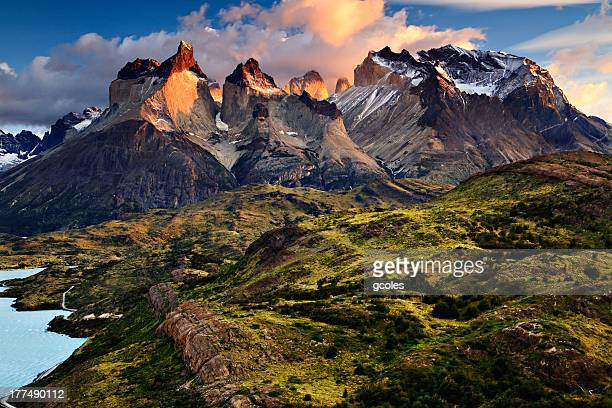 sunrise in the patagonian andes mountains - chile stock pictures, royalty-free photos & images