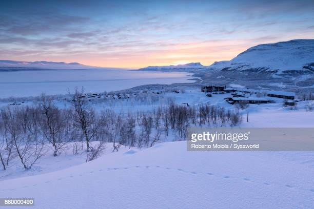 Sunrise in the snowy Lapland, Sweden