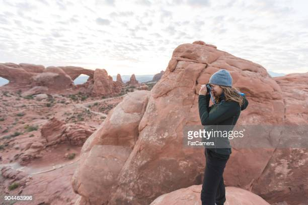 sunrise in the utah desert - rock formation stock photos and pictures