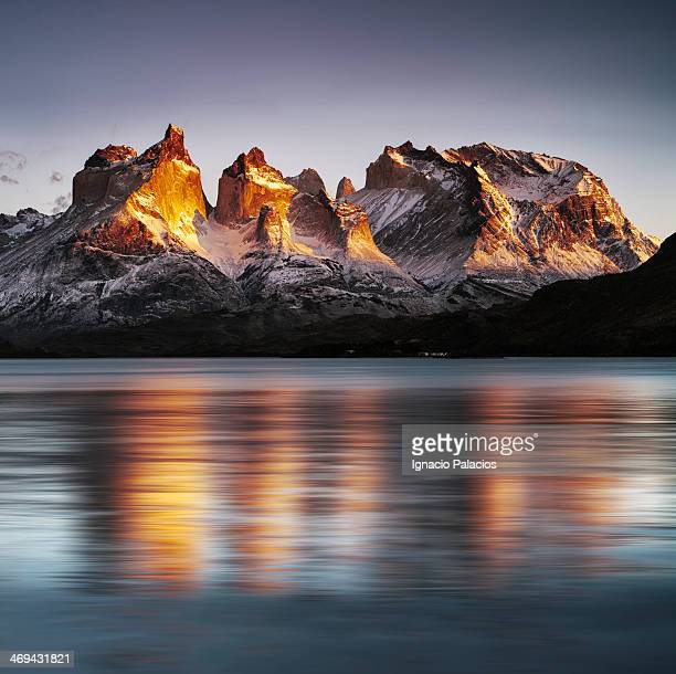 Sunrise in Torres del Paine and Pehoe lake