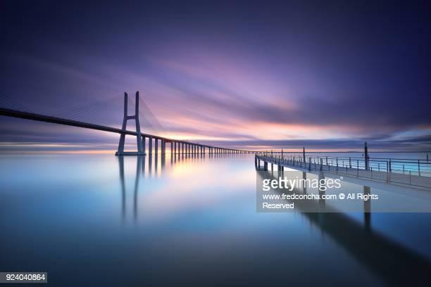 Sunrise in  Vasco da Gama bridge