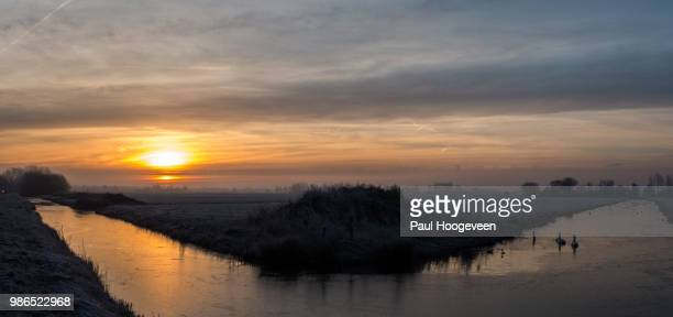 sunrise in winter @ donkereind (holland) - hoogeveen stock pictures, royalty-free photos & images