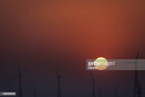 sunrise @ jaisalmer - american style windmill stock pictures, royalty-free photos & images