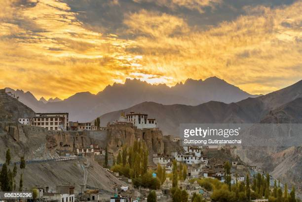 Sunrise landscape at Lamayuru temple in Leh ladakh on the hill in mountain valley