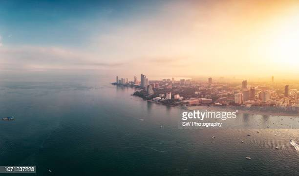 sunrise landscape in pattaya city, thailand - chonburi province stock pictures, royalty-free photos & images