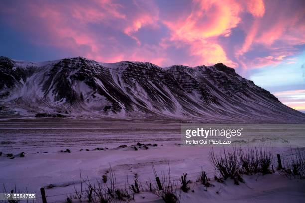 sunrise light at akranes, iceland - romantic sky stock pictures, royalty-free photos & images