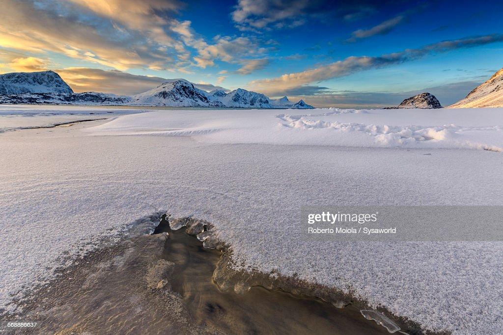 Sunrise lights Haukland Northern Norway : Stock Photo