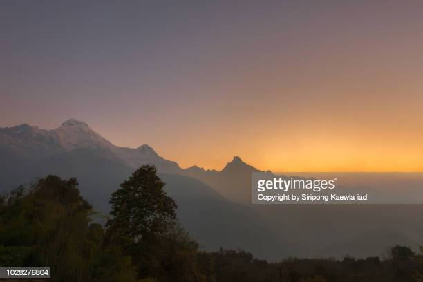 Sunrise moment in Tadapani village, Nepal.