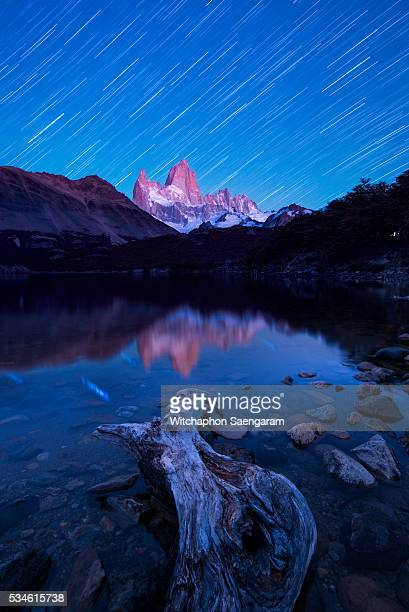 Sunrise moment of Mt. Fitzroy with star trails