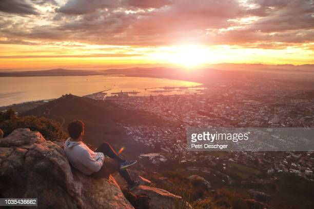 sunrise mountain hike. - holy city stock pictures, royalty-free photos & images