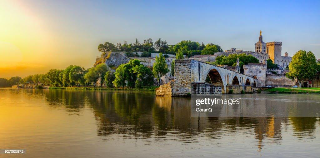 Sunrise of Avignon Bridge with Popes Palace, Pont Saint-Benezet, Provence, France : Stock Photo