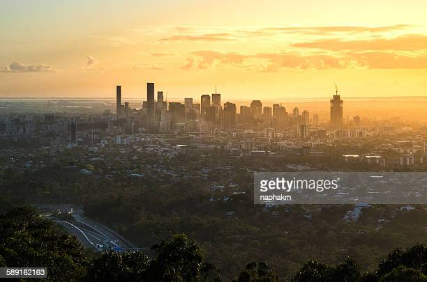 Sunrise of brisbane city view from mount coottha