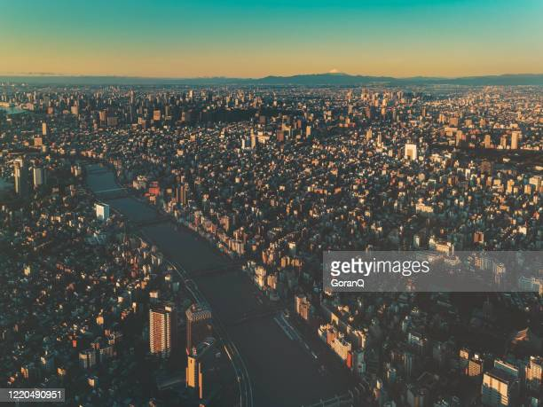 sunrise of central tokyo city, japan - olympic stadium stock pictures, royalty-free photos & images