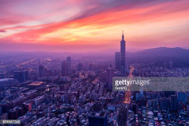 sunrise of city taipei at dawn, taiwan - taipei stock pictures, royalty-free photos & images
