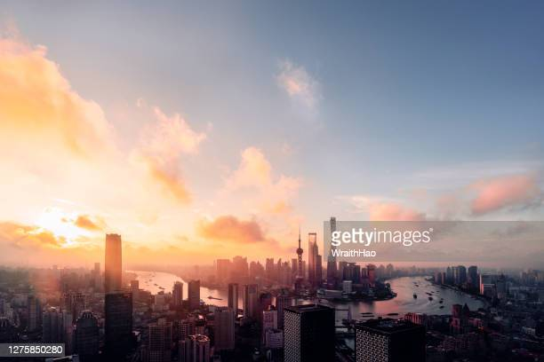 sunrise of cityscape of shanghai skyline in the morning - shanghai stock pictures, royalty-free photos & images