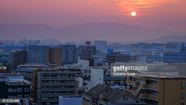 Sunrise of Fukuoka at morning