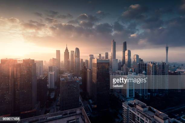 sunrise of guangzhou - morgen stock-fotos und bilder