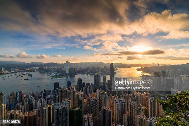 Sunrise of Hong Kong, from the Victoria Peak
