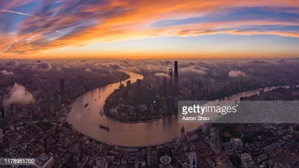 sunrise of shanghai - ハイビジョンテレビ ストックフォトと画像