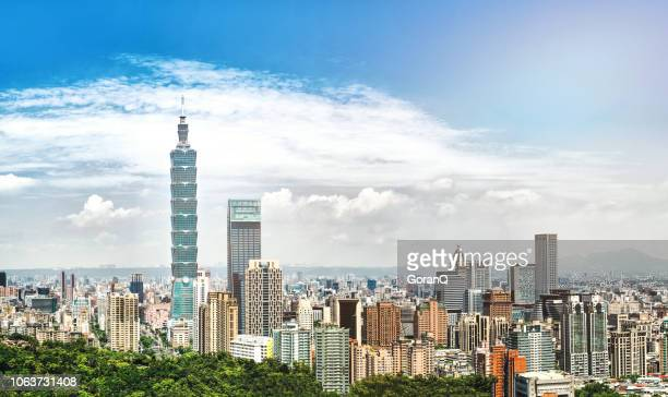sunrise of taipei city at dawn - taipei stock pictures, royalty-free photos & images