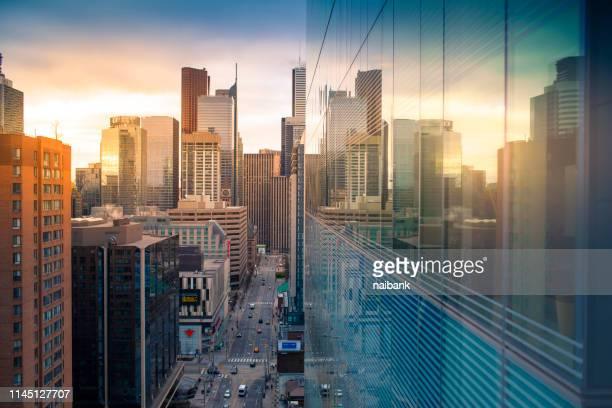 sunrise of toronto (bay and dundas) - financial district stock pictures, royalty-free photos & images