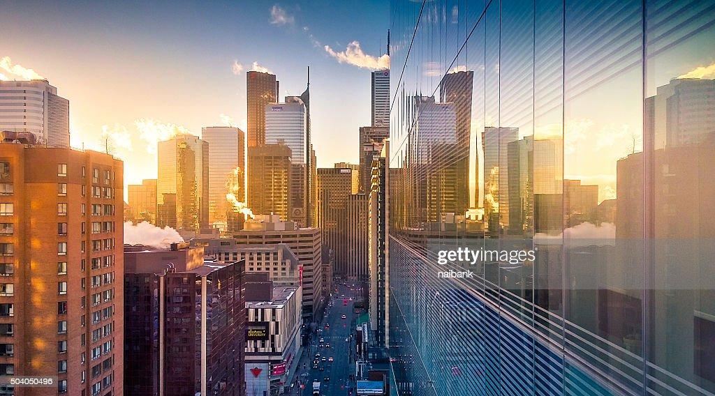 Sunrise of Toronto (Bay and Dundas) : Stock Photo