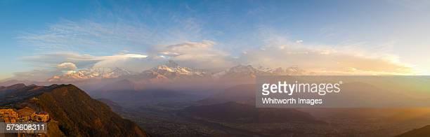 Sunrise on Annapurna Range panorama Nepal