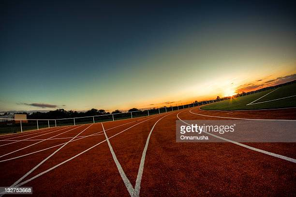 Sunrise on athletics track