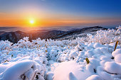 Sunrise on Deogyusan mountains covered with snow in winter,Korea