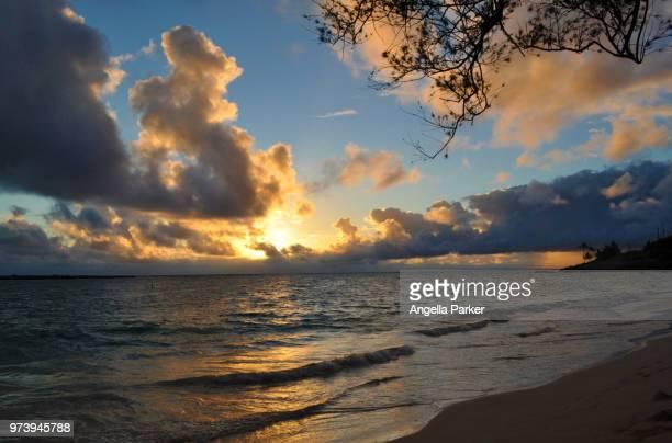 sunrise on kailua beach - kailua beach stock photos and pictures