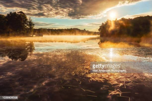 sunrise on lower sugarbush lake - wisconsin stock pictures, royalty-free photos & images