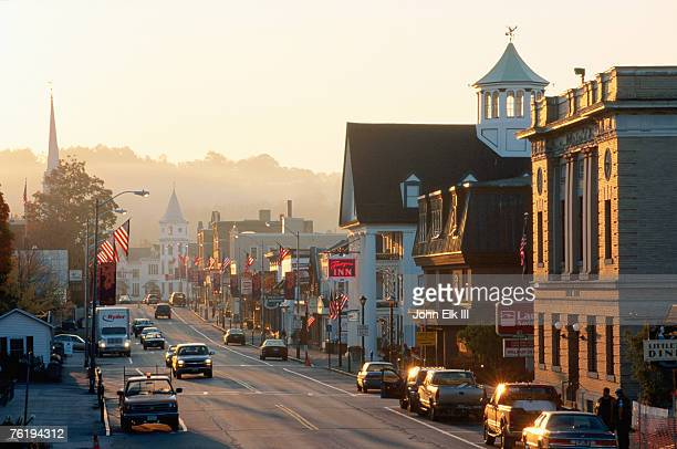 sunrise on main street, littleon, new hampshire, united states of america, north america - new hampshire stock pictures, royalty-free photos & images