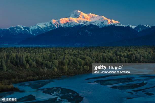 Sunrise on Mnt Denali Trapper Creek pullout view Alaska near Mount Denali Lodge