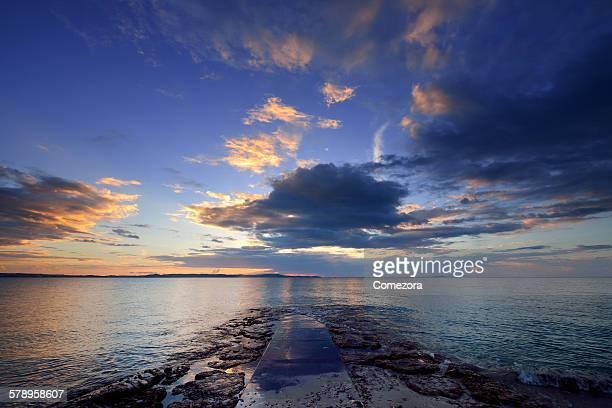 Sunrise on Pacific Ocean coastline