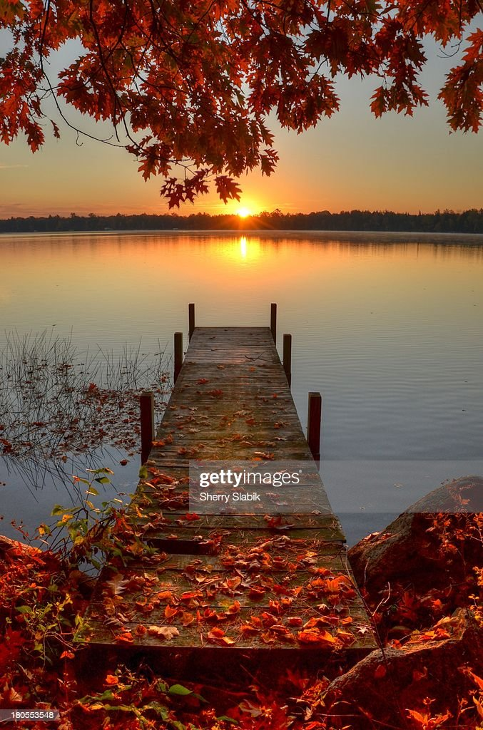 Sunrise on Pelican Lake : Stock Photo