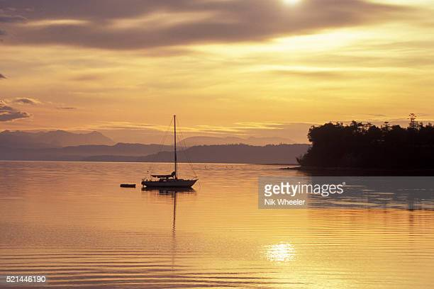 sunrise on penn cove at coupeville on whidbey island, washington state, usa - puget sound stock pictures, royalty-free photos & images